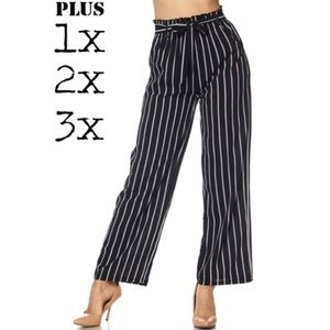 3899beb38ce Black white striped plus size elastic waist pants
